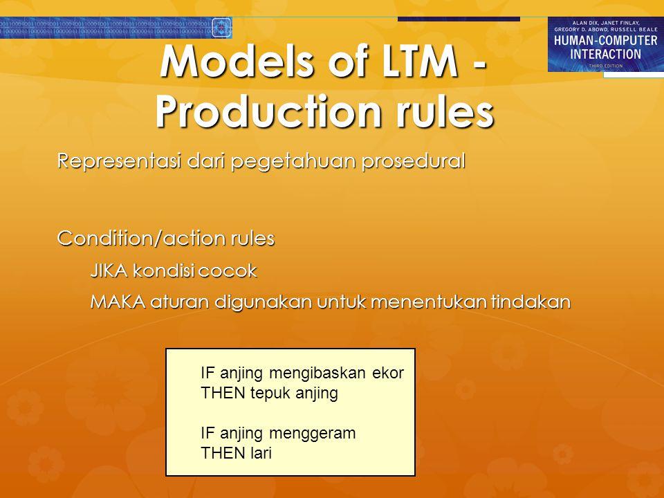 Models of LTM - Production rules Representasi dari pegetahuan prosedural Condition/action rules JIKA kondisi cocok MAKA aturan digunakan untuk menentu