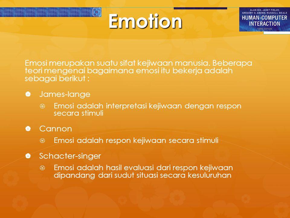 Emotion Emosi merupakan suatu sifat kejiwaan manusia. Beberapa teori mengenai bagaimana emosi itu bekerja adalah sebagai berikut :   James-lange  