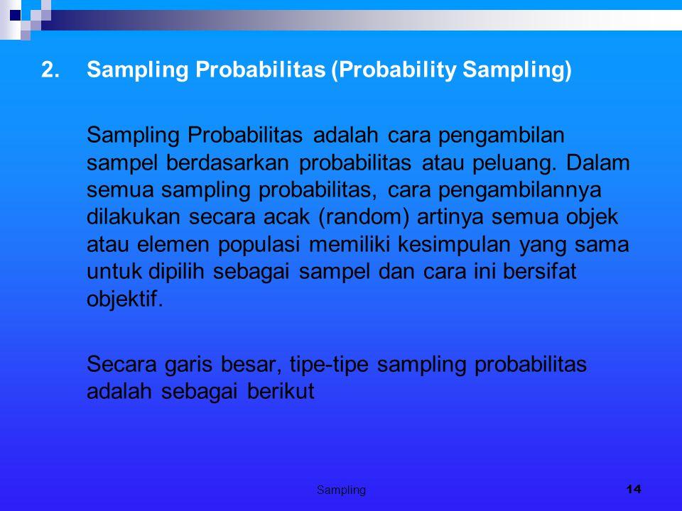 Sampling14 2.Sampling Probabilitas (Probability Sampling) Sampling Probabilitas adalah cara pengambilan sampel berdasarkan probabilitas atau peluang.