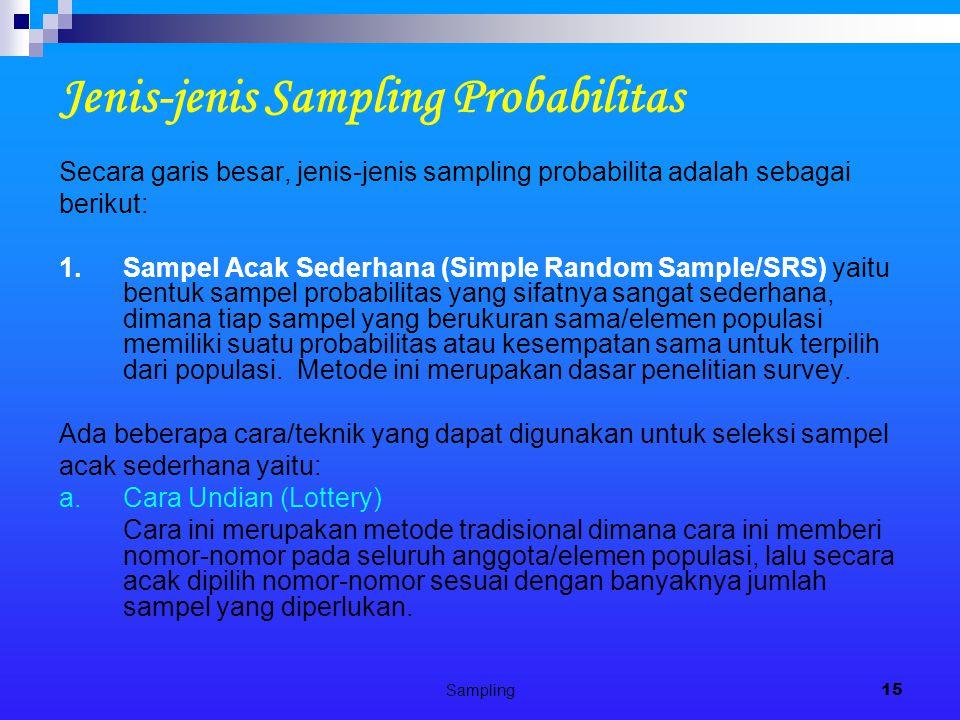 Sampling15 Jenis-jenis Sampling Probabilitas Secara garis besar, jenis-jenis sampling probabilita adalah sebagai berikut: 1.Sampel Acak Sederhana (Simple Random Sample/SRS) yaitu bentuk sampel probabilitas yang sifatnya sangat sederhana, dimana tiap sampel yang berukuran sama/elemen populasi memiliki suatu probabilitas atau kesempatan sama untuk terpilih dari populasi.