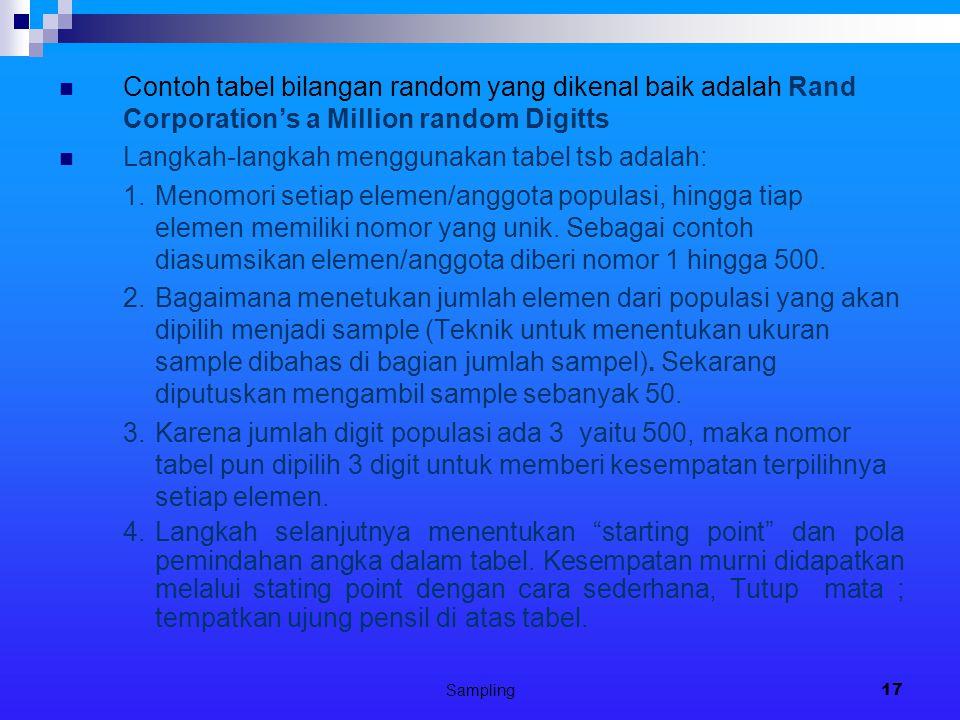 Sampling17 Contoh tabel bilangan random yang dikenal baik adalah Rand Corporation's a Million random Digitts Langkah-langkah menggunakan tabel tsb ada
