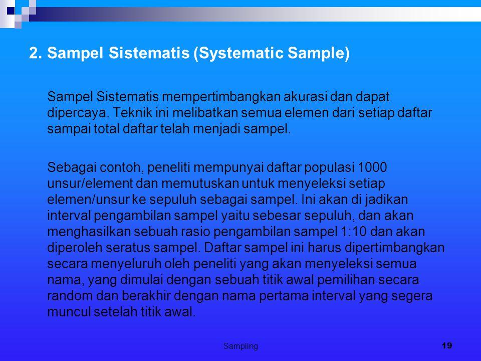 Sampling19 2.Sampel Sistematis (Systematic Sample) Sampel Sistematis mempertimbangkan akurasi dan dapat dipercaya. Teknik ini melibatkan semua elemen