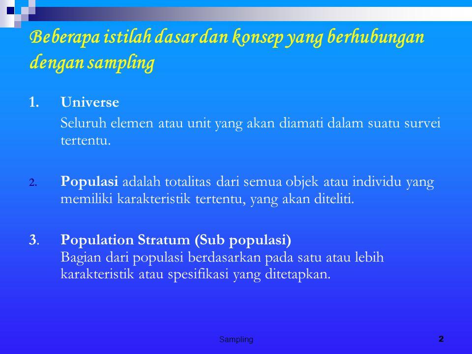 Sampling2 Beberapa istilah dasar dan konsep yang berhubungan dengan sampling 1.Universe Seluruh elemen atau unit yang akan diamati dalam suatu survei