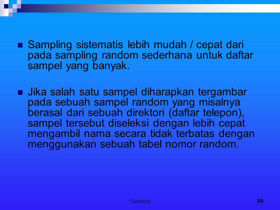 Sampling20 Sampling sistematis lebih mudah / cepat dari pada sampling random sederhana untuk daftar sampel yang banyak.