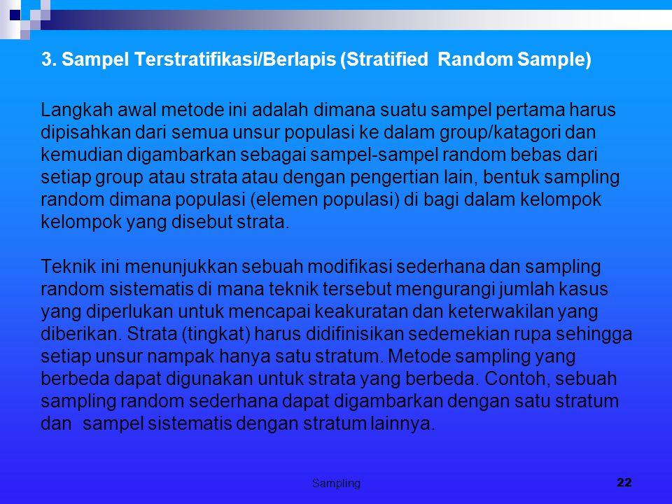 Sampling22 3. Sampel Terstratifikasi/Berlapis (Stratified Random Sample) Langkah awal metode ini adalah dimana suatu sampel pertama harus dipisahkan d