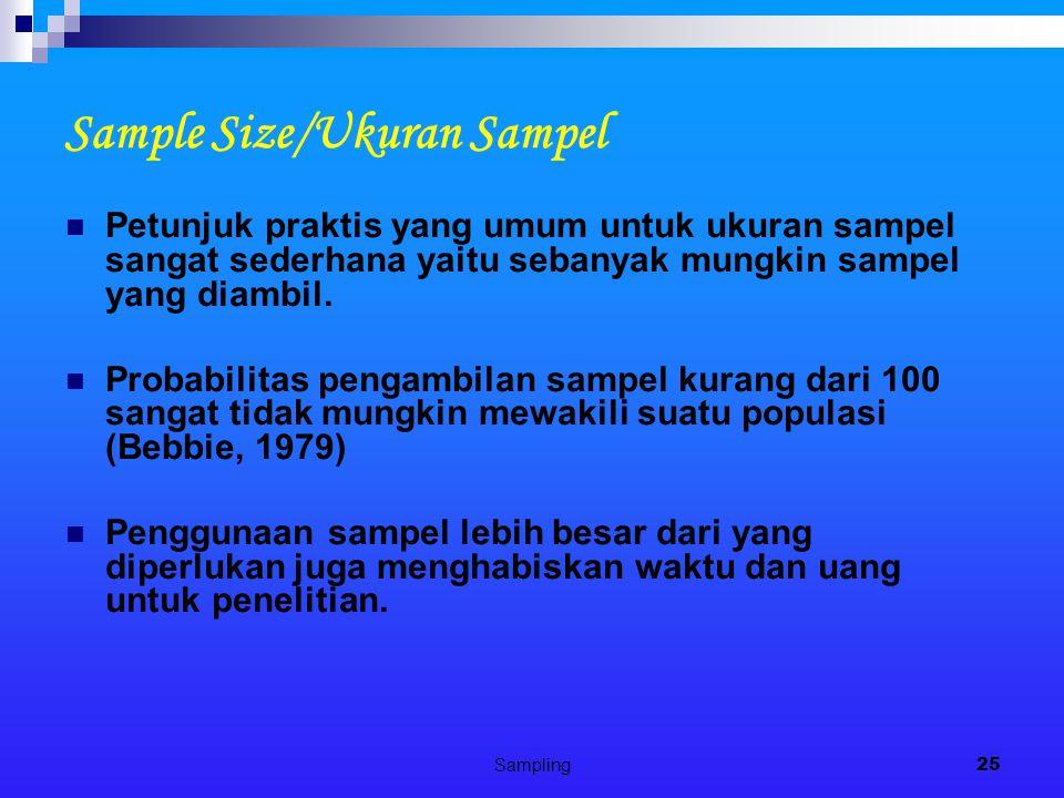 Sampling25 Sample Size/Ukuran Sampel Petunjuk praktis yang umum untuk ukuran sampel sangat sederhana yaitu sebanyak mungkin sampel yang diambil. Proba