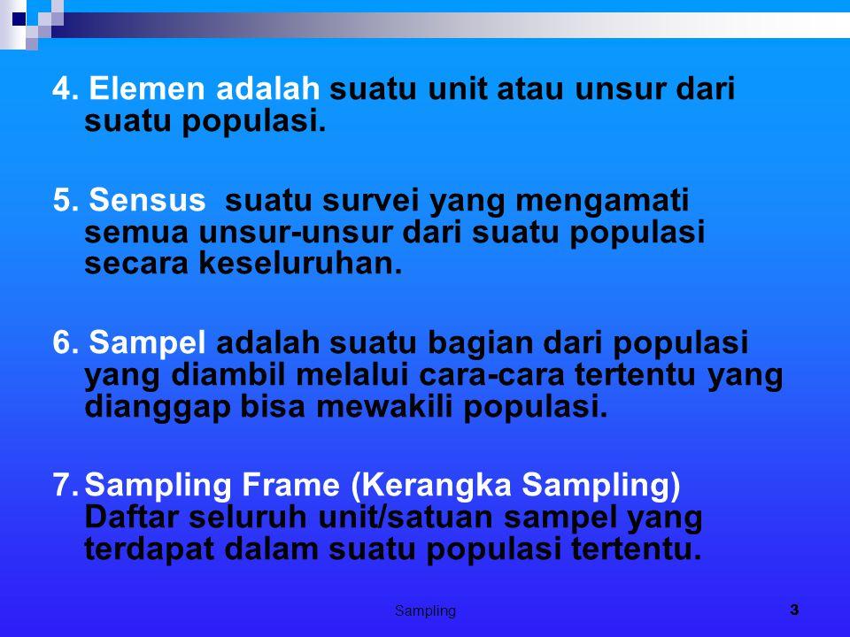 Sampling3 4. Elemen adalah suatu unit atau unsur dari suatu populasi. 5. Sensus suatu survei yang mengamati semua unsur-unsur dari suatu populasi seca