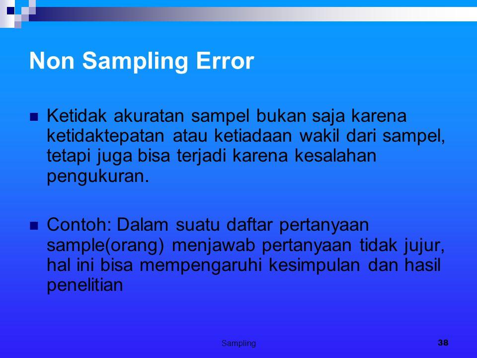 Sampling38 Non Sampling Error Ketidak akuratan sampel bukan saja karena ketidaktepatan atau ketiadaan wakil dari sampel, tetapi juga bisa terjadi karena kesalahan pengukuran.