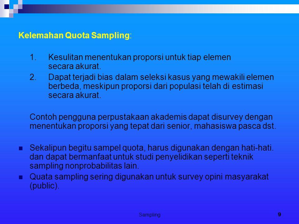 Sampling9 Kelemahan Quota Sampling: 1.Kesulitan menentukan proporsi untuk tiap elemen secara akurat.