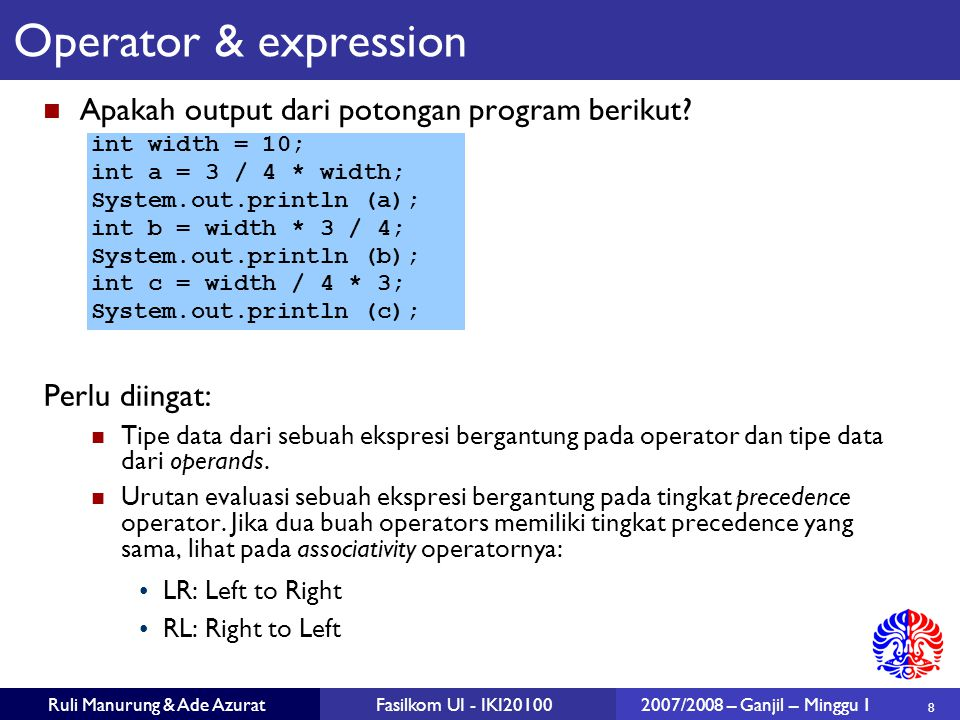 49 Ruli Manurung & Ade AzuratFasilkom UI - IKI201002007/2008 – Ganjil – Minggu 1 public class CircleComparable extends Circle implements Comparable { public CircleComparable (double r) {super (r);} public int compareTo (Object other) { CircleComparable otherCircle = (CircleComparable) other; if (radius < otherCircle.getRadius ()) {return -1;} else if (radius > otherCircle.getRadius ()) {return 1;} else {return 0;} } Contoh: interface