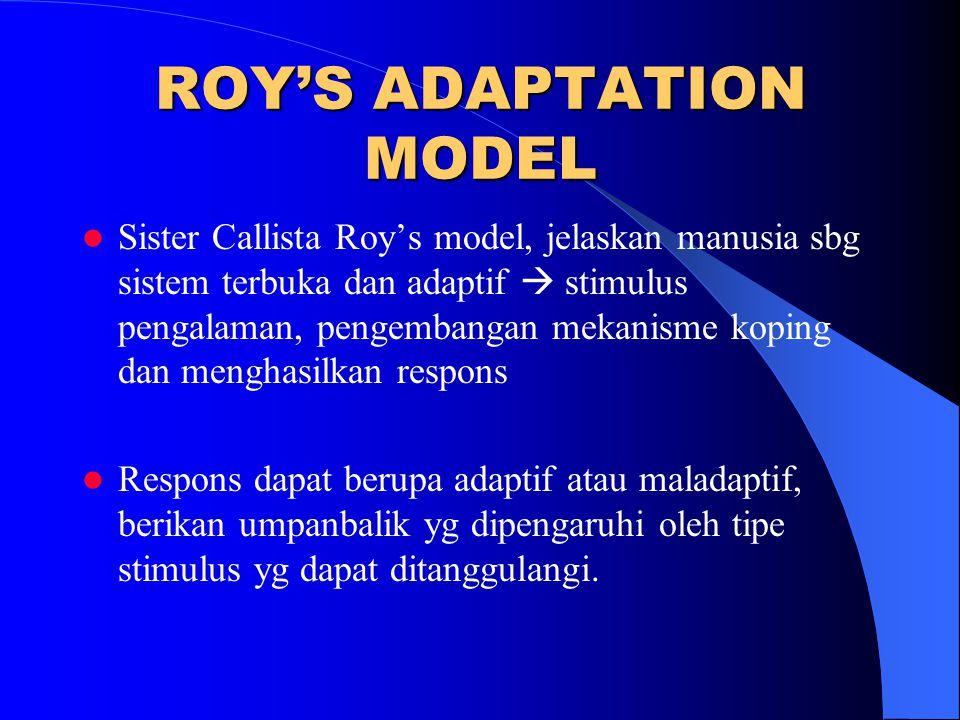 ROY'S ADAPTATION MODEL Sister Callista Roy's model, jelaskan manusia sbg sistem terbuka dan adaptif  stimulus pengalaman, pengembangan mekanisme kopi