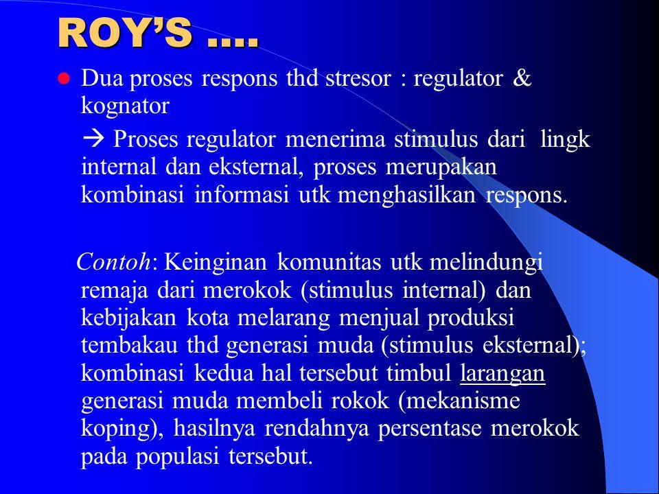 ROY'S …. Dua proses respons thd stresor : regulator & kognator  Proses regulator menerima stimulus dari lingk internal dan eksternal, proses merupaka