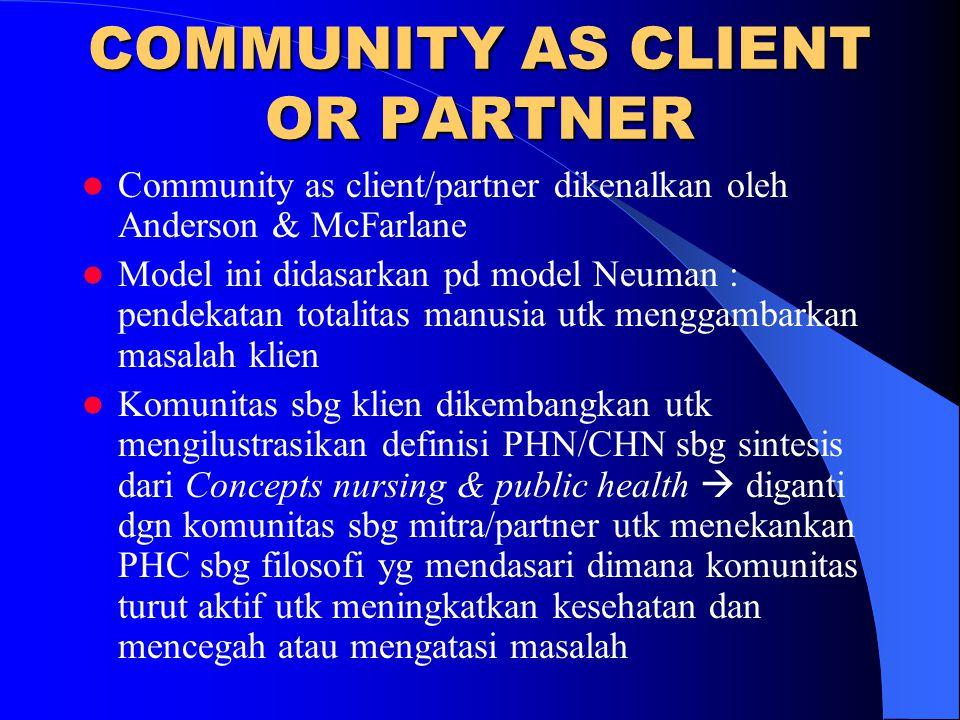 COMMUNITY AS CLIENT OR PARTNER Community as client/partner dikenalkan oleh Anderson & McFarlane Model ini didasarkan pd model Neuman : pendekatan tota