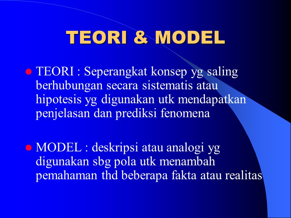 Beberapa Teori & Model yg dpt digunakan didalam praktik keperawatan komunitas :  Teori lingkungan oleh Nightingale (Nightingale's theory of environment)  Self-Care Model oleh Orem  Adaptation Model dari Roy, S.C  Health Care System Model oleh Betty Neuman  Community as Client or Partnership Model oleh McFarlane