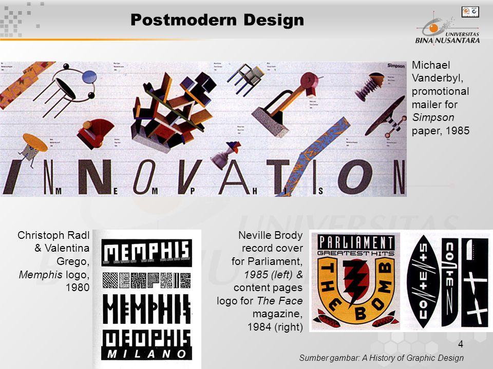 5 Postmodern Design Sumber gambar: A History of Graphic Design Charles S.
