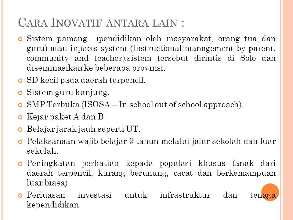 C ARA I NOVATIF ANTARA LAIN : Sistem pamong (pendidikan oleh masyarakat, orang tua dan guru) atau inpacts system (Instructional management by parent,