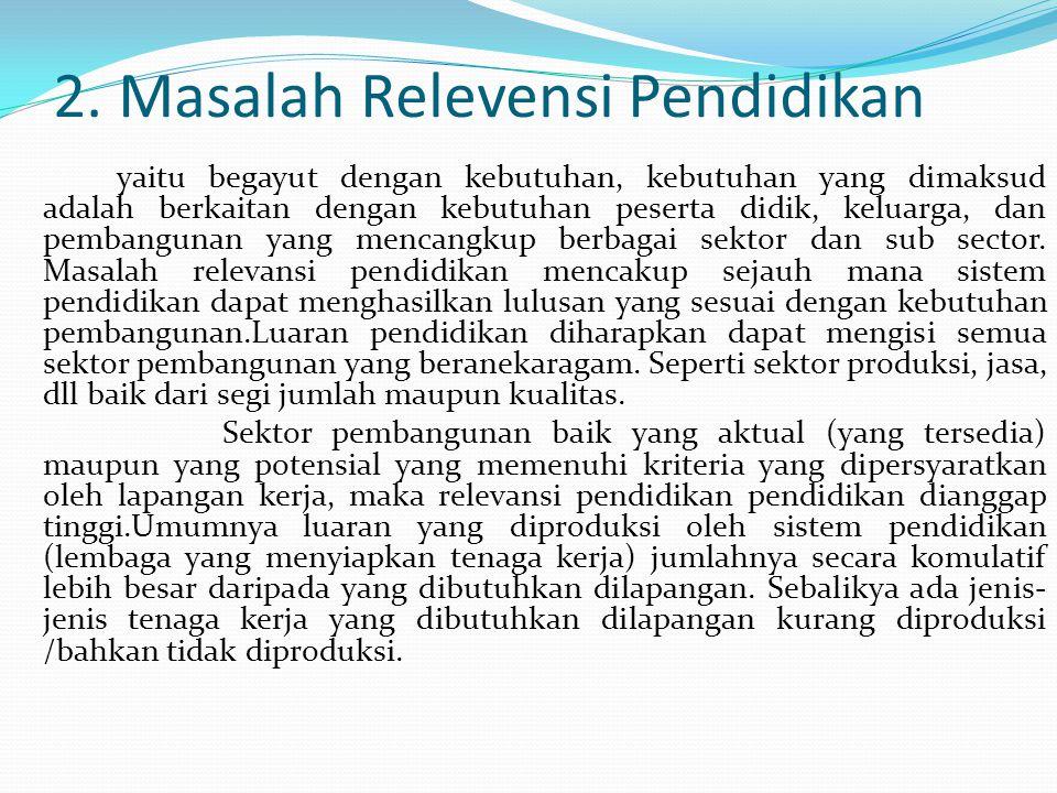 2. Masalah Relevensi Pendidikan yaitu begayut dengan kebutuhan, kebutuhan yang dimaksud adalah berkaitan dengan kebutuhan peserta didik, keluarga, dan