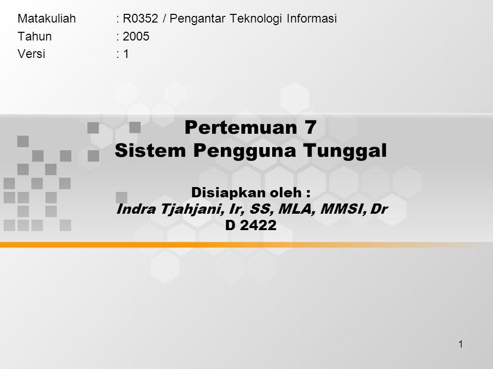 1 Pertemuan 7 Sistem Pengguna Tunggal Disiapkan oleh : Indra Tjahjani, Ir, SS, MLA, MMSI, Dr D 2422 Matakuliah: R0352 / Pengantar Teknologi Informasi Tahun: 2005 Versi: 1