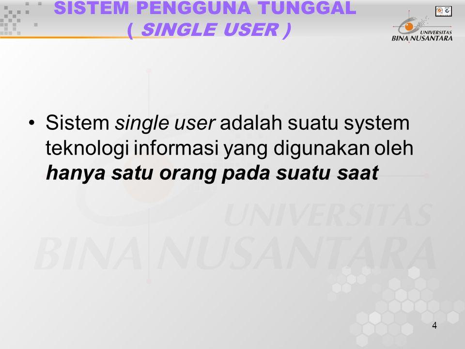 4 SISTEM PENGGUNA TUNGGAL ( SINGLE USER ) Sistem single user adalah suatu system teknologi informasi yang digunakan oleh hanya satu orang pada suatu saat