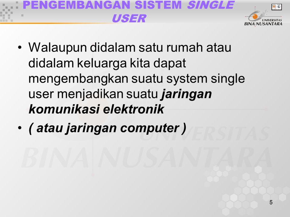 6 APLIKASI SISTEM SINGLE USER Ada beberapa aplikasi yang diguna-kan dalam sistem single user diantara-nya adalah : Lembar kerja elektronik Aplikasi database Pengolah kata Dekstop Publishing, Grafik dalam bisnis.