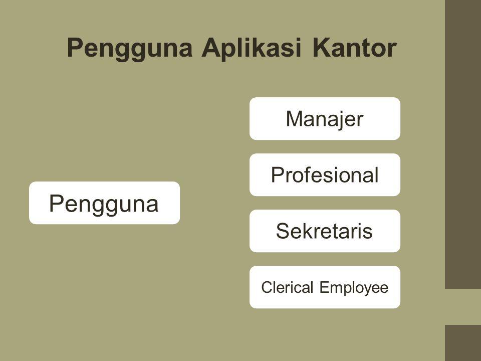 Faktor-faktor Yang Mempengaruhi Pilihan Aplikasi Otomatisasi Kantor 1.Jenis Organisasi, yaitu seorang manajer diperusahaan dengan satu lokasi tidak ak