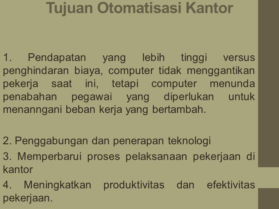Otomatisasi kantor Otomatisasi kantor didefinisikan oleh O'Brien( 1996 ) sebagai system informasi berbasis telekomunikasi yang mengumpulkan, memproses