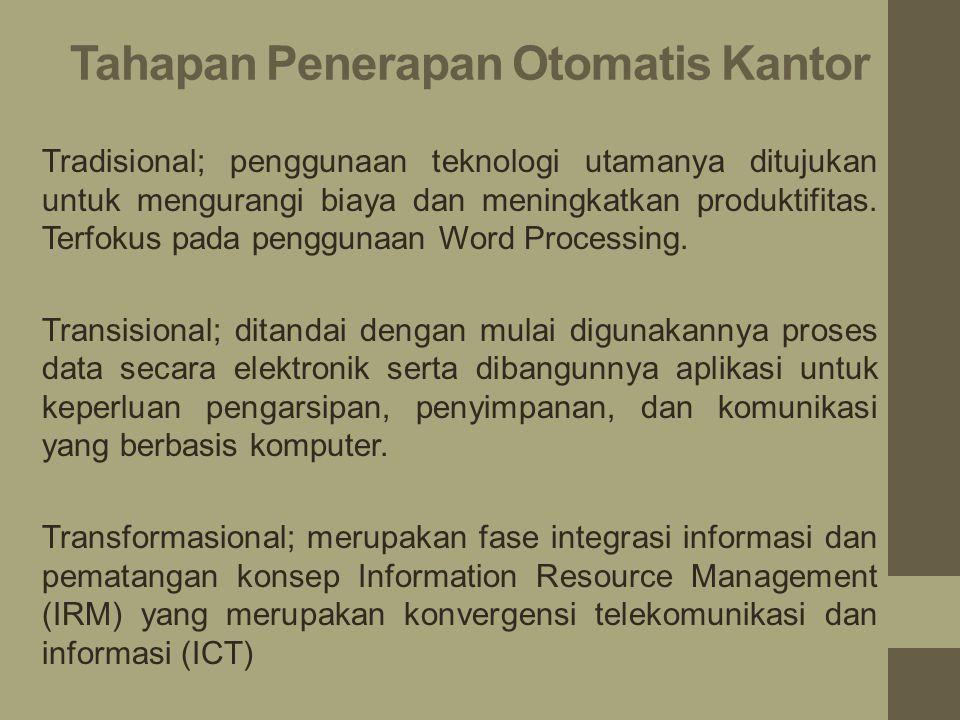 Tahapan Penerapan Otomatis Kantor Tradisional; penggunaan teknologi utamanya ditujukan untuk mengurangi biaya dan meningkatkan produktifitas.