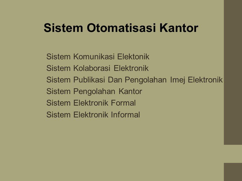 Sistem Otomatisasi Kantor 1.Sistem Komunikasi Elektonik 2.Sistem Kolaborasi Elektronik 3.Sistem Publikasi Dan Pengolahan Imej Elektronik 4.Sistem Pengolahan Kantor 5.Sistem Elektronik Formal 6.Sistem Elektronik Informal