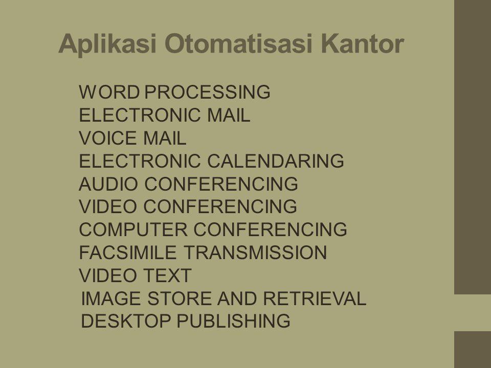Sistem Otomatisasi Kantor 1.Sistem Komunikasi Elektonik 2.Sistem Kolaborasi Elektronik 3.Sistem Publikasi Dan Pengolahan Imej Elektronik 4.Sistem Peng