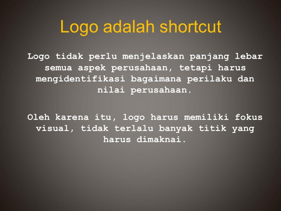 Logo adalah shortcut Logo tidak perlu menjelaskan panjang lebar semua aspek perusahaan, tetapi harus mengidentifikasi bagaimana perilaku dan nilai per