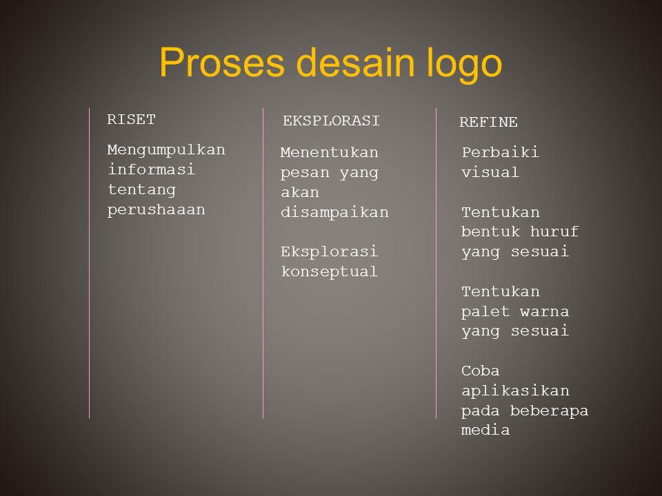 Proses desain logo RISET EKSPLORASI REFINE Mengumpulkan informasi tentang perushaaan Menentukan pesan yang akan disampaikan Eksplorasi konseptual Perb