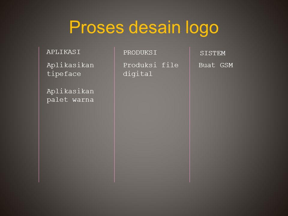 Proses desain logo APLIKASI PRODUKSI SISTEM Aplikasikan tipeface Aplikasikan palet warna Produksi file digital Buat GSM