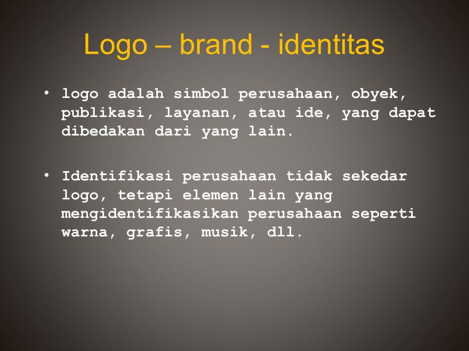 Logo – brand - identitas logo adalah simbol perusahaan, obyek, publikasi, layanan, atau ide, yang dapat dibedakan dari yang lain. Identifikasi perusah