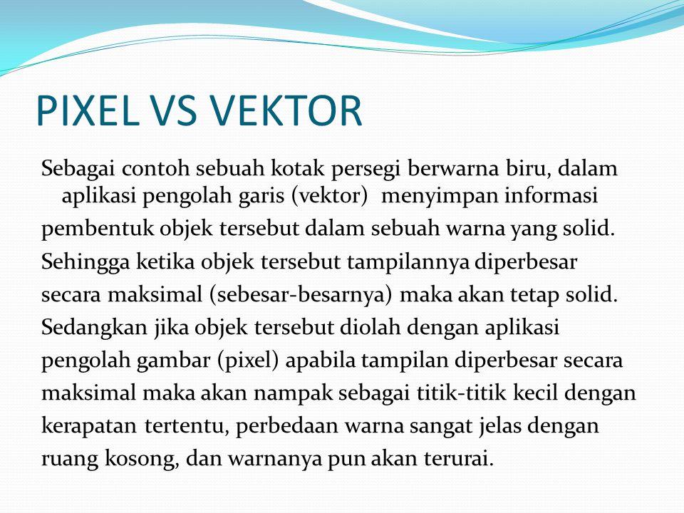 PIXEL VS VEKTOR Sebagai contoh sebuah kotak persegi berwarna biru, dalam aplikasi pengolah garis (vektor) menyimpan informasi pembentuk objek tersebut