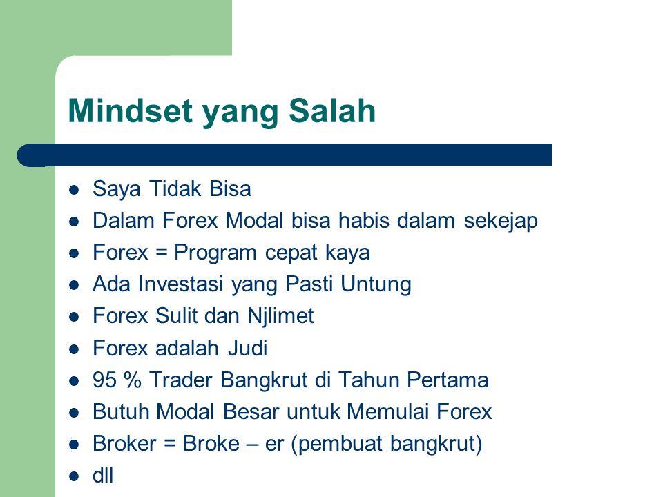 Mindset yang Salah Saya Tidak Bisa Dalam Forex Modal bisa habis dalam sekejap Forex = Program cepat kaya Ada Investasi yang Pasti Untung Forex Sulit d