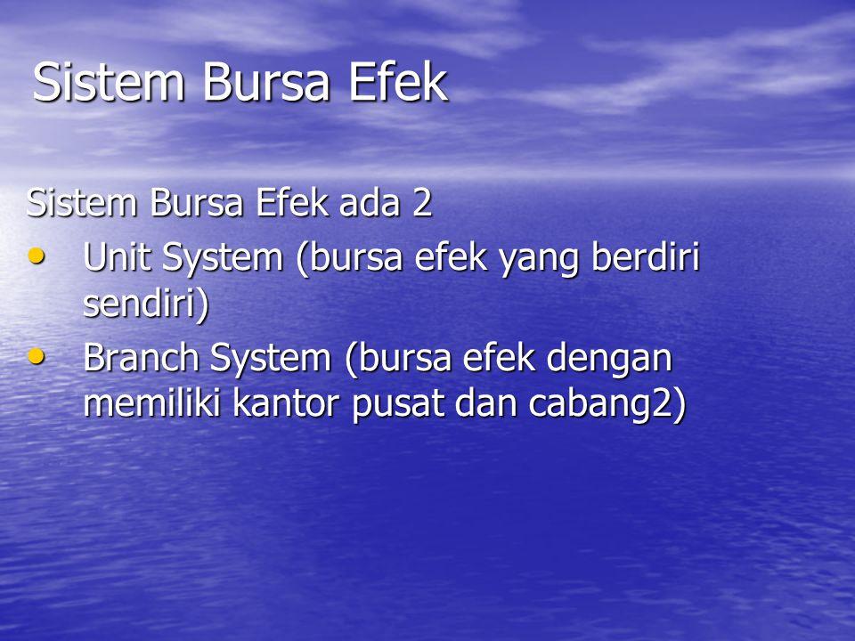 Sistem Bursa Efek Sistem Bursa Efek ada 2 Unit System (bursa efek yang berdiri sendiri) Unit System (bursa efek yang berdiri sendiri) Branch System (b
