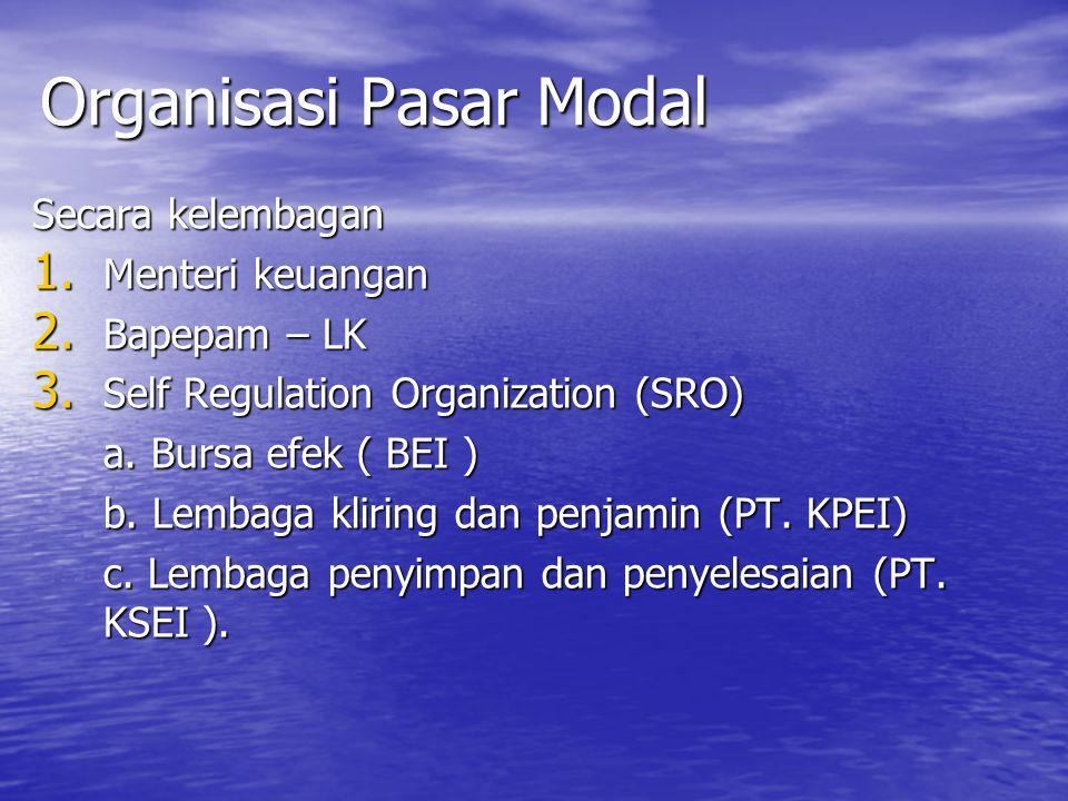 Organisasi Pasar Modal Secara kelembagan 1. Menteri keuangan 2. Bapepam – LK 3. Self Regulation Organization (SRO) a. Bursa efek ( BEI ) b. Lembaga kl