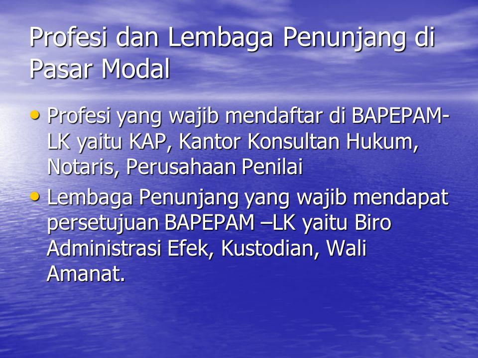 Profesi dan Lembaga Penunjang di Pasar Modal Profesi yang wajib mendaftar di BAPEPAM- LK yaitu KAP, Kantor Konsultan Hukum, Notaris, Perusahaan Penila