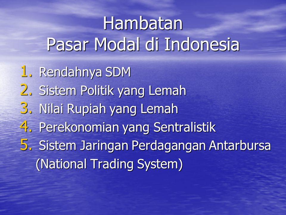 Hambatan Pasar Modal di Indonesia 1. Rendahnya SDM 2. Sistem Politik yang Lemah 3. Nilai Rupiah yang Lemah 4. Perekonomian yang Sentralistik 5. Sistem