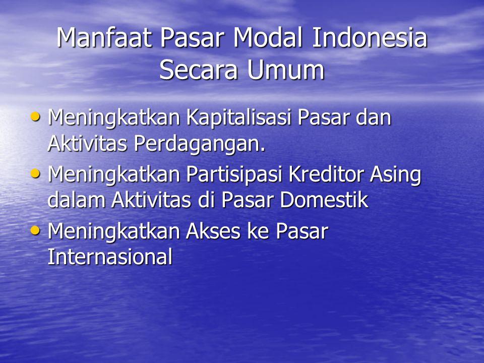 Manfaat Pasar Modal Indonesia Secara Umum Meningkatkan Kapitalisasi Pasar dan Aktivitas Perdagangan. Meningkatkan Kapitalisasi Pasar dan Aktivitas Per