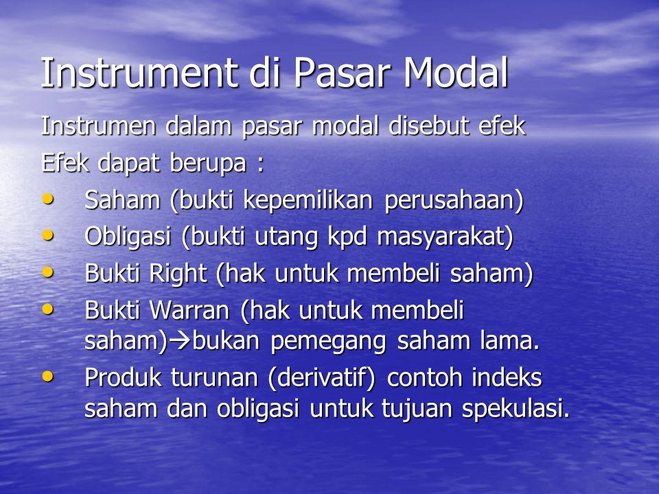 Instrument di Pasar Modal Instrumen dalam pasar modal disebut efek Efek dapat berupa : Saham (bukti kepemilikan perusahaan) Saham (bukti kepemilikan p
