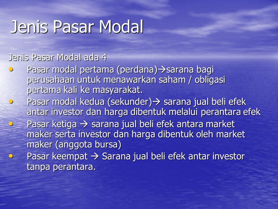 Jenis Pasar Modal Jenis Pasar Modal ada 4 Pasar modal pertama (perdana)  sarana bagi perusahaan untuk menawarkan saham / obligasi pertama kali ke mas