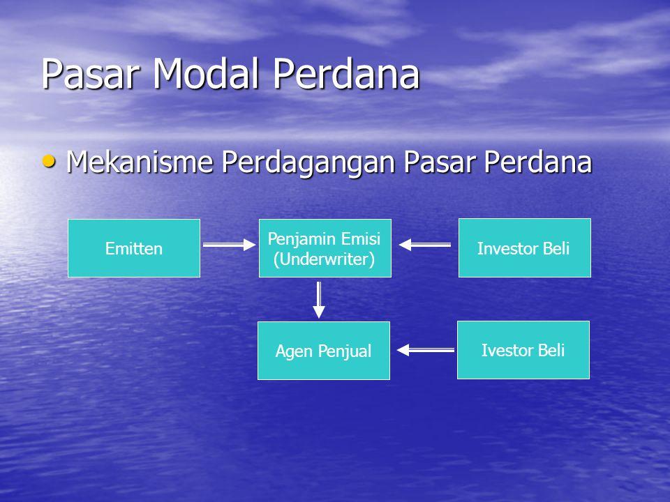 Pasar Modal Perdana Mekanisme Perdagangan Pasar Perdana Mekanisme Perdagangan Pasar Perdana Emitten Penjamin Emisi (Underwriter) Investor Beli Agen Pe
