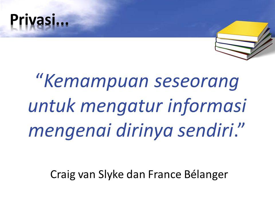 Kemampuan seseorang untuk mengatur informasi mengenai dirinya sendiri. Craig van Slyke dan France Bélanger