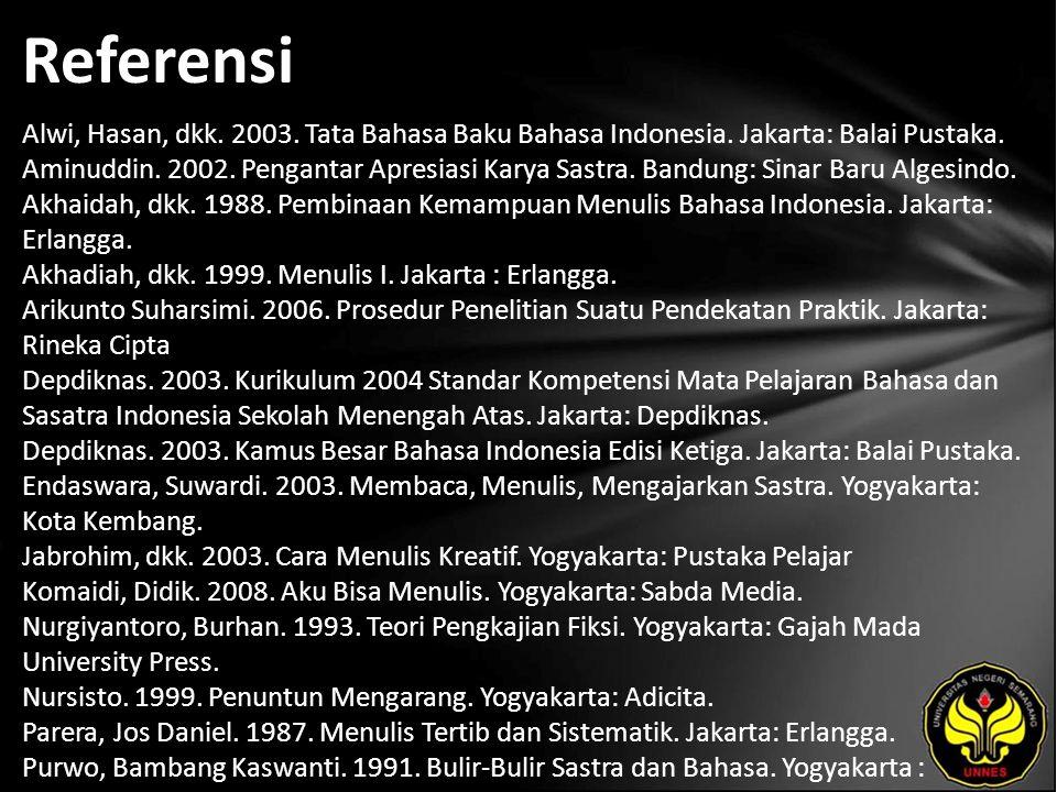 Referensi Alwi, Hasan, dkk. 2003. Tata Bahasa Baku Bahasa Indonesia. Jakarta: Balai Pustaka. Aminuddin. 2002. Pengantar Apresiasi Karya Sastra. Bandun