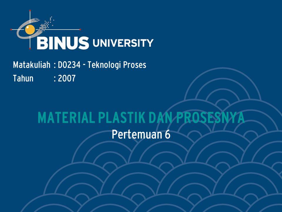 Bina Nusantara Learning Outcomes Outline Materi : Mahasiswa dapat menerangkan cara pengolahan plastik.