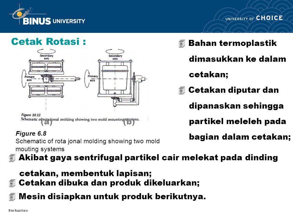 Bina Nusantara Cetak Rotasi : 4 Bahan termoplastik dimasukkan ke dalam cetakan; 4 Cetakan diputar dan dipanaskan sehingga partikel meleleh pada bagian