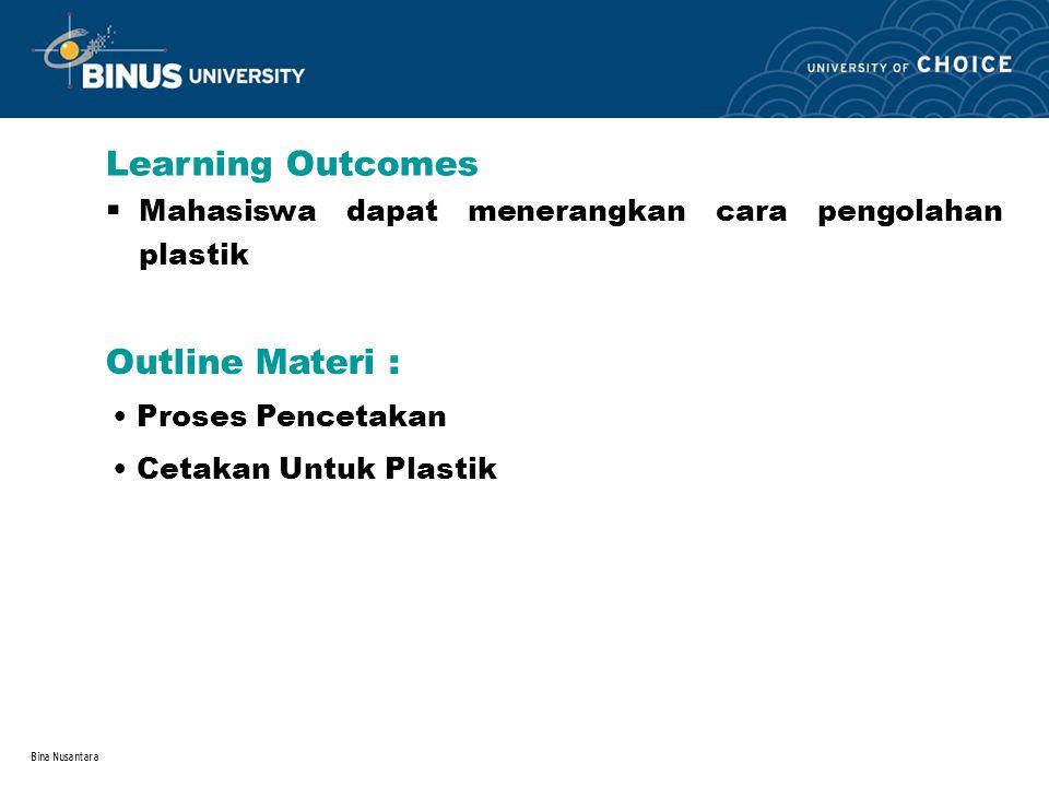 Bina Nusantara Learning Outcomes Outline Materi : Mahasiswa dapat menerangkan cara pengolahan plastik. Proses Pencetakan Cetakan Untuk Plastik