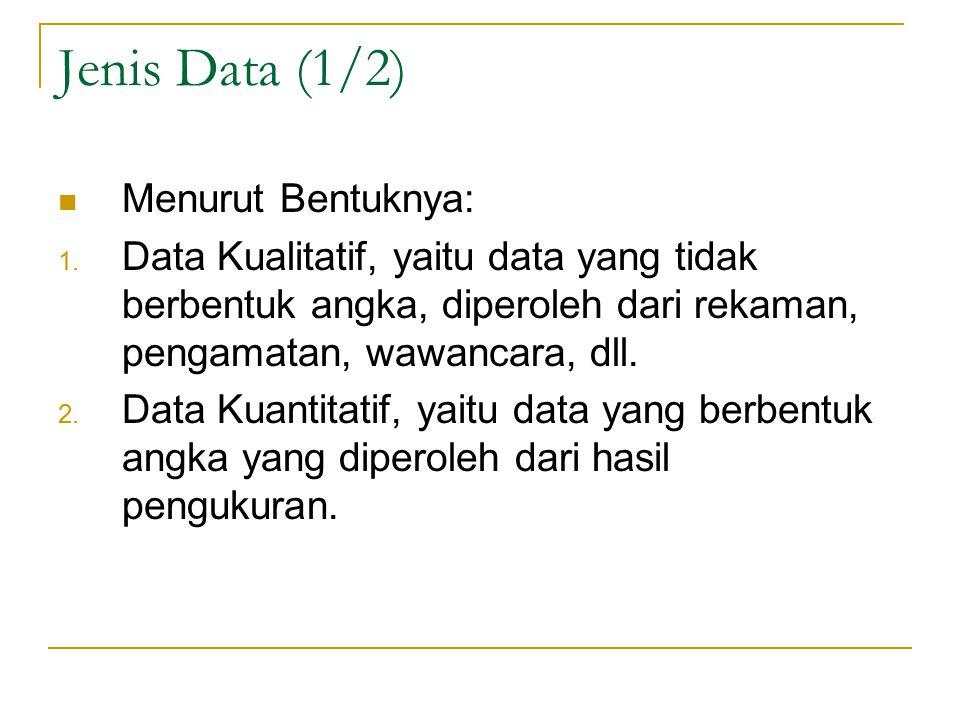 Jenis Data (1/2) Menurut Bentuknya: 1.