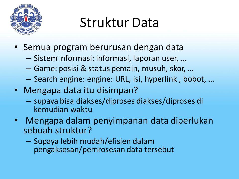 Struktur Data Semua program berurusan dengan data – Sistem informasi: informasi, laporan user, … – Game: posisi & status pemain, musuh, skor, … – Sear